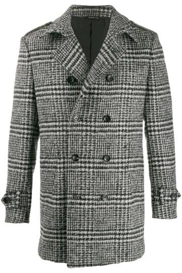 Pilkas raštuotas pea coat paltas