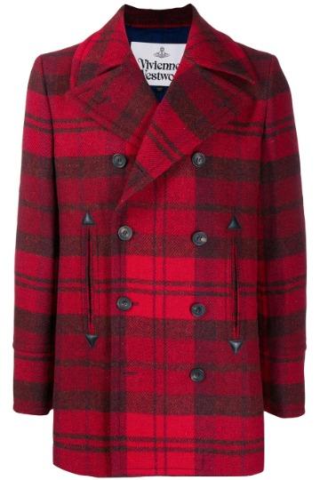 Tamsiai raudonas pea coat paltas