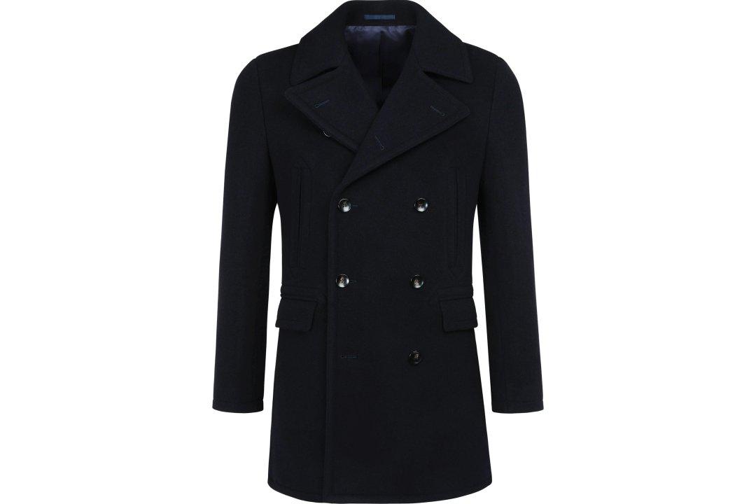 Trumpas dvieilis pea coat paltas