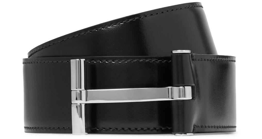 Tom Ford juodas diržas atvira įspaudžiama sagtimi