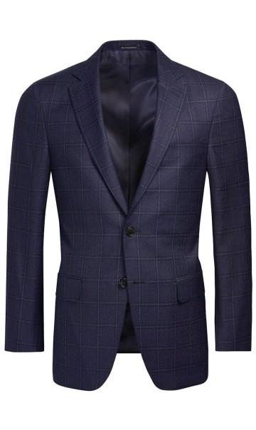 Mėlynas languotas kostiumas