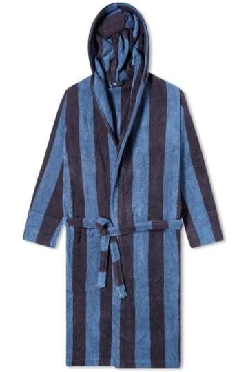 Stilinga dovana vyrui mėlynas dryžuotas chalatas