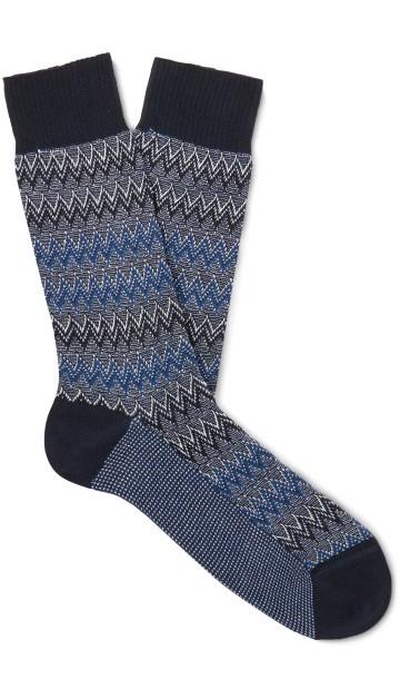 Stilinga dovana vyrui tamsiai mėlynos raštuotos kojinės