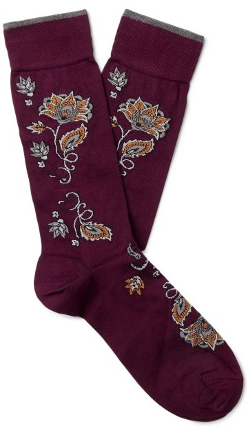 Stilinga dovana vyrui tamsiai raudonos raštuotos kojinės