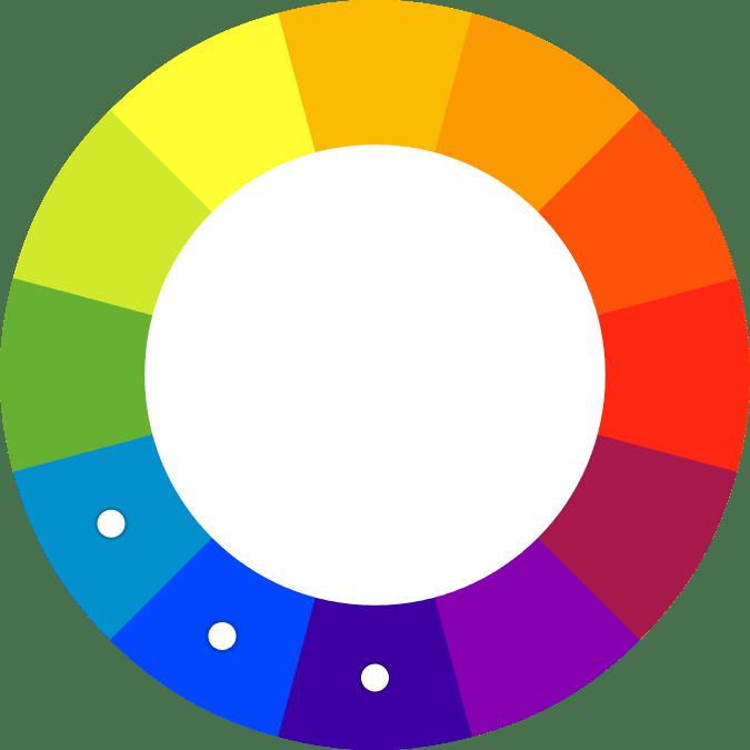 Spalvų ratas panašios spalvos