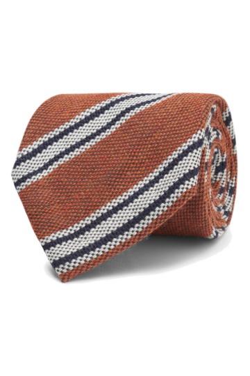 Oranžinis dryžuotas kaklaraištis
