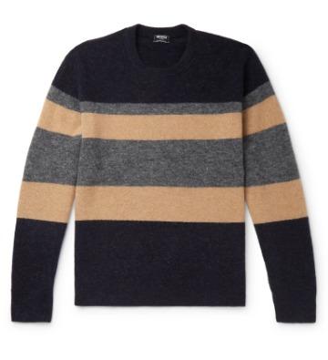Megztinis su dryžiais ant krūtinės