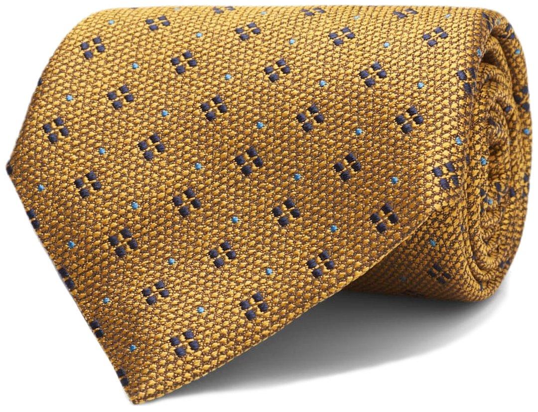 Geltonas raštuotas kaklaraištis