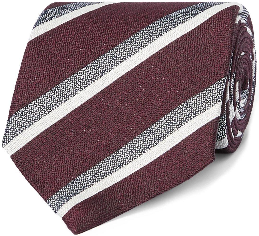Tamsiai raudonas dryžuotas kaklaraištis