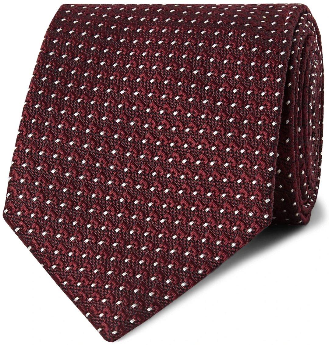 Tamsiai raudonas taškuotas kaklaraištis