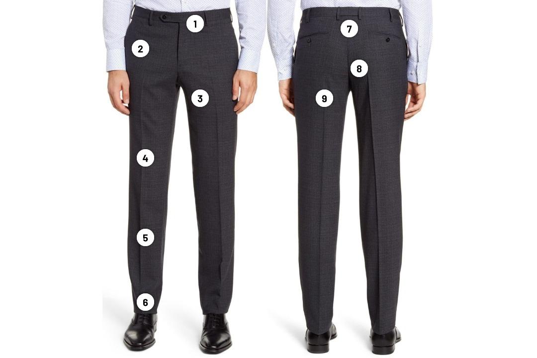 Tinkamo dydžio kostiuminės kelnės iš priekio ir užpakalio